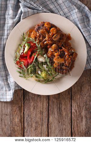 Salisbury Steak With Mushroom Sauce And Vegetable. Vertical Top View
