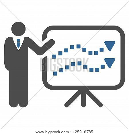 Trends Lecture vector toolbar icon. Style is bicolor flat icon symbol, cobalt and gray colors, white background, square dots.