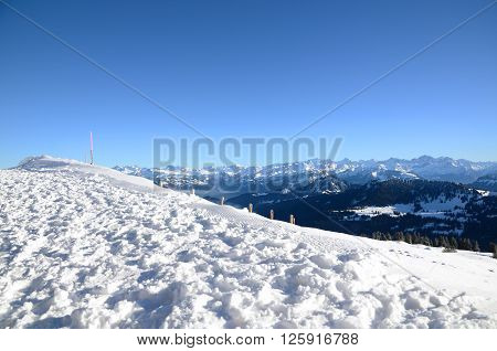 View of Swiss Alps from the Rigi Kulm in winter Lucerne Switzerland