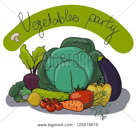Vegetable party composition of 10 isolated objects