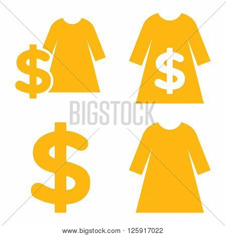 Dress Shopping vector icons. Style is yellow flat symbols on a white background.