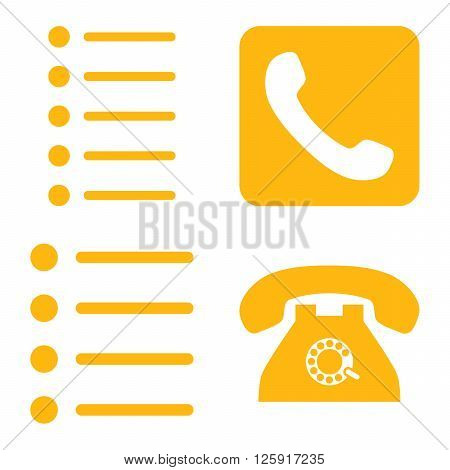 Phone List vector icons. Style is yellow flat symbols on a white background.