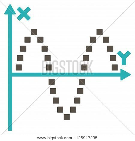 Sinusoid Plot vector toolbar icon. Style is bicolor flat icon symbol, grey and cyan colors, white background, square dots.