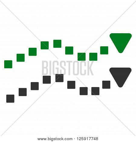 Dotted Trend Lines vector toolbar icon. Style is bicolor flat icon symbol, green and gray colors, white background, square dots.