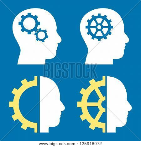 Intellect Gears vector icons. Style is bicolor yellow and white flat symbols on a blue background.