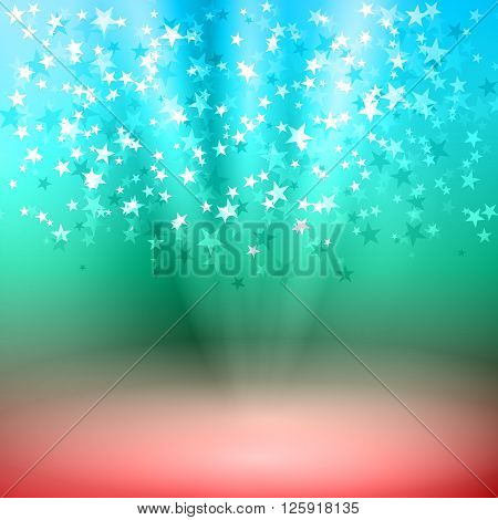 Vector illustration background falling stars on stage.