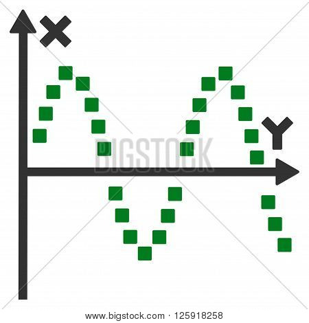 Sine Plot vector toolbar icon. Style is bicolor flat icon symbol, green and gray colors, white background, square dots.