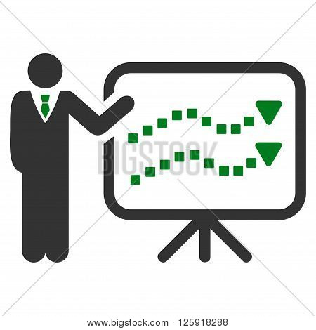 Trends Lecture vector toolbar icon. Style is bicolor flat icon symbol, green and gray colors, white background, square dots.