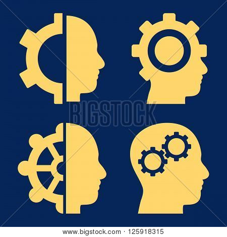 Intellect Gears vector icons. Style is yellow flat symbols on a blue background.