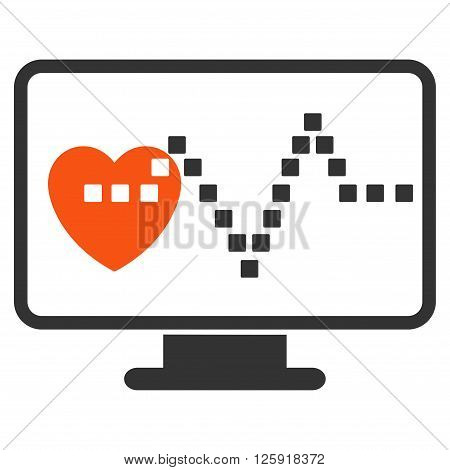 Cardio Monitoring vector toolbar icon. Style is bicolor flat icon symbol, orange and gray colors, white background, square dots.
