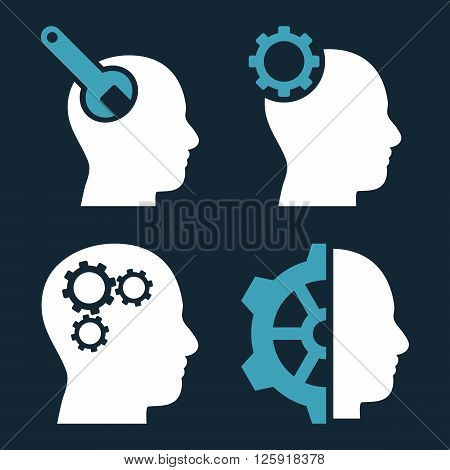 Brain Tools vector icons. Style is bicolor blue and white flat symbols on a dark blue background.