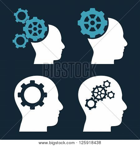 Intellect Gears vector icons. Style is bicolor blue and white flat symbols on a dark blue background.