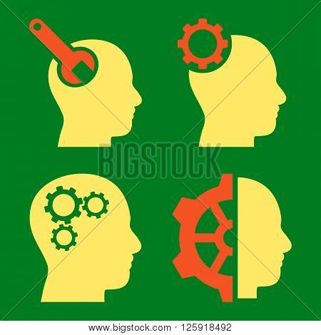 Brain Tools vector icons. Style is bicolor orange and yellow flat symbols on a green background.