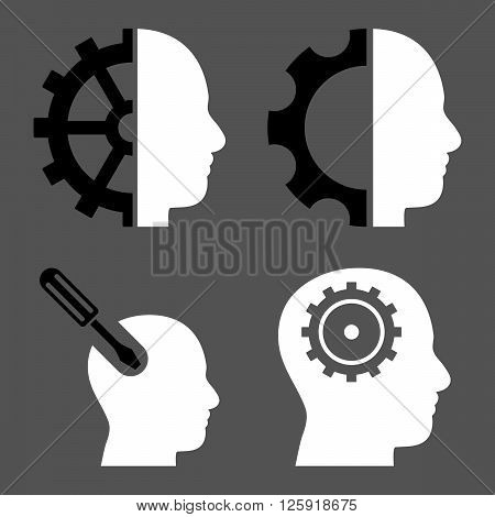 Brain Tools vector icons. Style is bicolor black and white flat symbols on a gray background.
