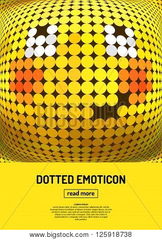 Modest smile. Emotional face icon. Yellow emoticon. Vector dotted smiley face. Conceptual illustration on the theme of emotions. Bright icon badge and poster.