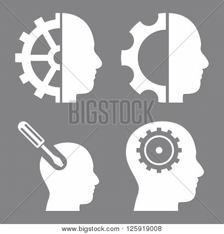 Brain Tools vector icons. Style is white flat symbols on a gray background.