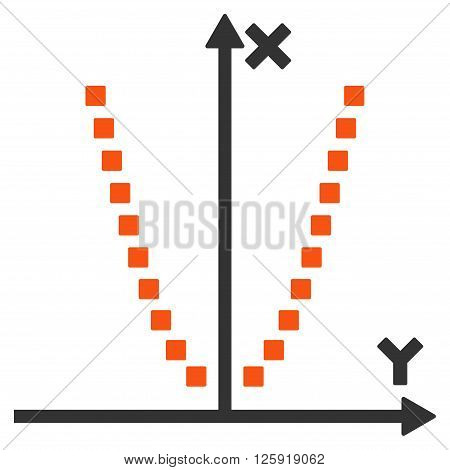 Parabole Plot vector toolbar icon. Style is bicolor flat icon symbol, orange and gray colors, white background, square dots.