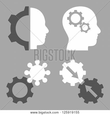 Intellect Gears vector icons. Style is bicolor dark gray and white flat symbols on a silver background.