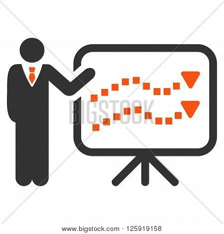 Trends Lecture vector toolbar icon. Style is bicolor flat icon symbol, orange and gray colors, white background, square dots.