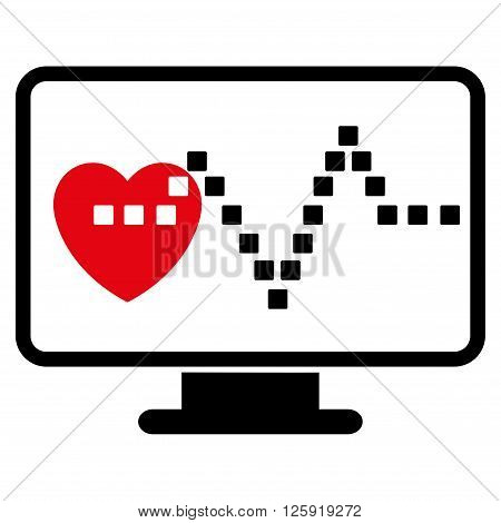Cardio Monitoring vector toolbar icon. Style is bicolor flat icon symbol, intensive red and black colors, white background, square dots.