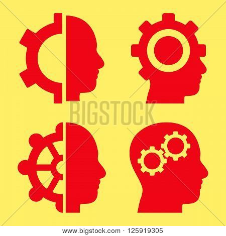 Intellect Gears vector icons. Style is red flat symbols on a yellow background.