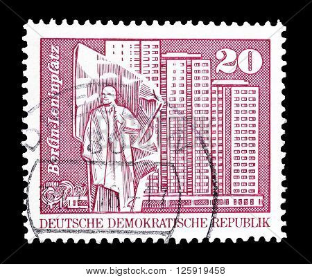 GERMAN DEMOCRATIC REPUBLIC - CIRCA 1973 : Cancelled postage stamp printed by German Democratic Republic, that shows Place Lenin in Berlin.