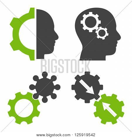 Intellect Gears vector icons. Style is bicolor eco green and gray flat symbols on a white background.