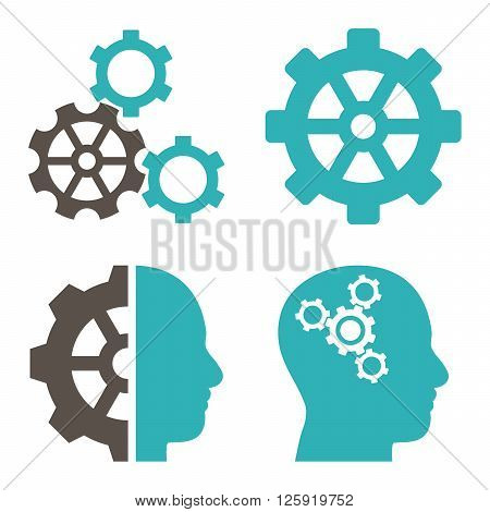 Intellect Gears vector icons. Style is bicolor grey and cyan flat symbols on a white background.
