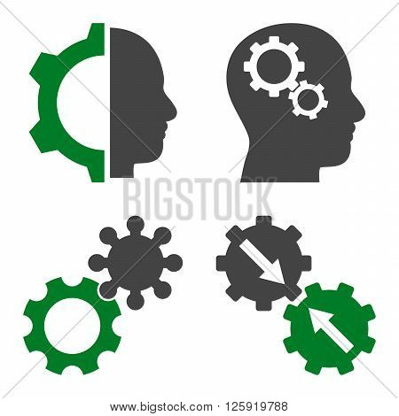 Intellect Gears vector icons. Style is bicolor green and gray flat symbols on a white background.