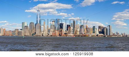 JERSEY CITY, NJ - MARCH 21, 2016: View of New York from Jersey City, New Jersey. The City of New York, often called New York City or simply New York, is the most populous city in the United States.