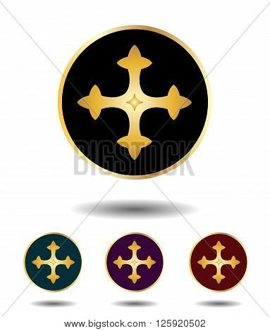 Vector Icon Logo Set 3 In 1 With Vintage Gothic Gold Cross On Black, Green, Violet And Red Backgroun