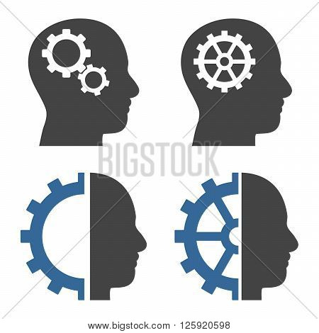 Intellect Gears vector icons. Style is bicolor cobalt and gray flat symbols on a white background.