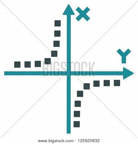 Hyperbola Plot vector toolbar icon. Style is bicolor flat icon symbol, soft blue colors, white background, square dots.
