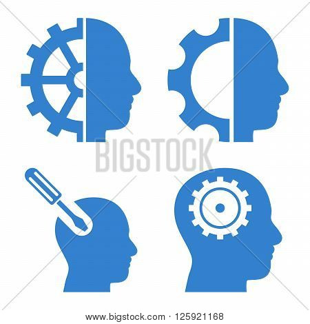 Brain Tools vector icons. Style is cobalt flat symbols on a white background.