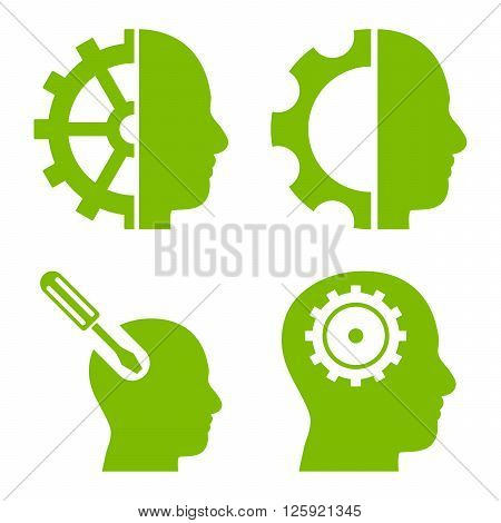 Brain Tools vector icons. Style is eco green flat symbols on a white background.