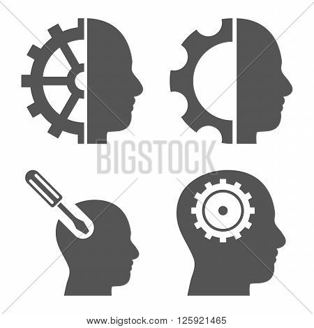 Brain Tools vector icons. Style is gray flat symbols on a white background.