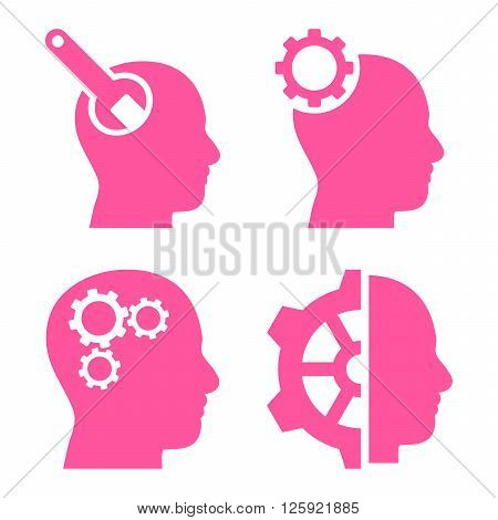 Brain Tools vector icons. Style is pink flat symbols on a white background.