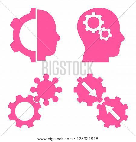 Intellect Gears vector icons. Style is pink flat symbols on a white background.