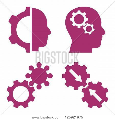 Intellect Gears vector icons. Style is purple flat symbols on a white background.