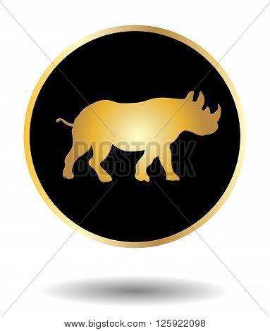 Vector Golden And Black Icon With Rhino Isolated On White With Shadow. Vector Illustration