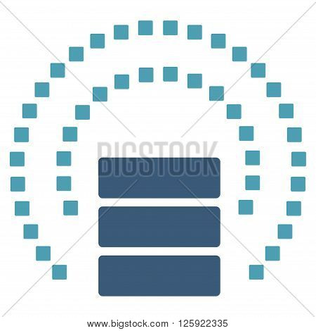Database Sphere Shield vector toolbar icon. Style is bicolor flat icon symbol, cyan and blue colors, white background, square dots.