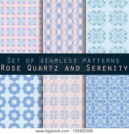 Set Of Geometric Seamless Patterns. Rose Quartz And Serenity Violet Colors. Vector Illustration.