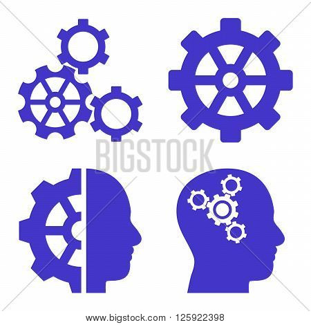Intellect Gears vector icons. Style is violet flat symbols on a white background.