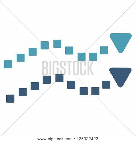 Dotted Trend Lines vector toolbar icon. Style is bicolor flat icon symbol, cyan and blue colors, white background, square dots.