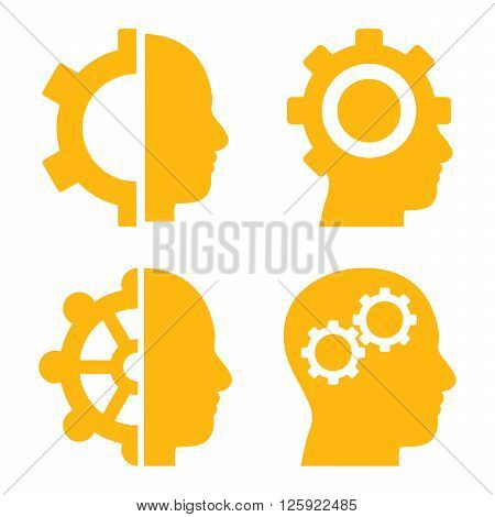 Intellect Gears vector icons. Style is yellow flat symbols on a white background.