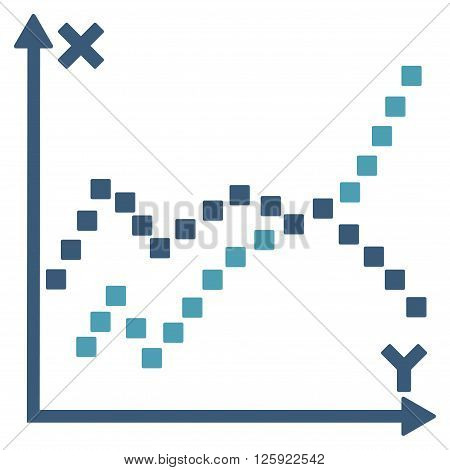 Functions Plot vector toolbar icon. Style is bicolor flat icon symbol, cyan and blue colors, white background, square dots.