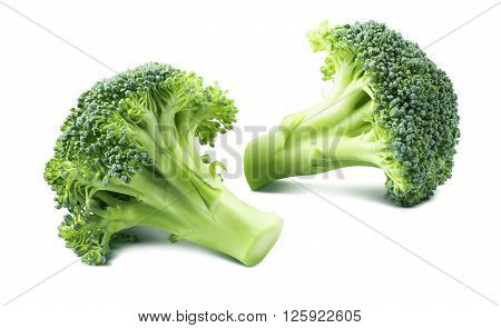 Double broccoli separate isolated on white background as package design element