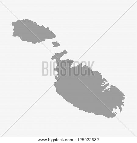 Malta Map In Gray On A White Background