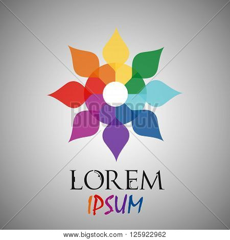 Abstract rainbow flower geometric logo template. Business abstract icon. Use for logo sign symbol web label icon. Vector illustration