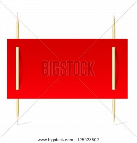 Blank banner with red paper on toothpicks. Illustration on white background
